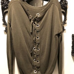 Express Army Green Loop And Tie Back Sweater M